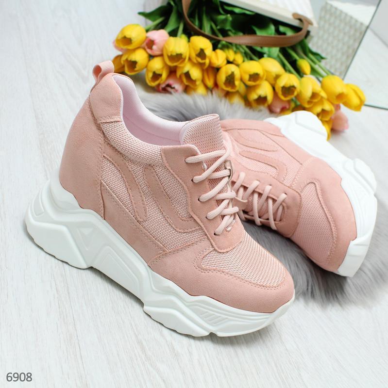 Модные женские розовые кроссовки сникерсы на танкетке по доступной цене