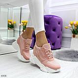 Модные женские розовые кроссовки сникерсы на танкетке по доступной цене, фото 3