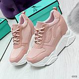 Модные женские розовые кроссовки сникерсы на танкетке по доступной цене, фото 5