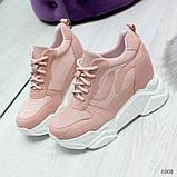 Модные женские розовые кроссовки сникерсы на танкетке по доступной цене, фото 6