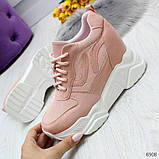 Модные женские розовые кроссовки сникерсы на танкетке по доступной цене, фото 7