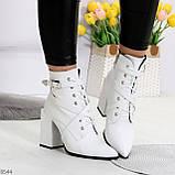 Элегантные нарядные белые женские ботинки на фигурном каблуке, фото 2