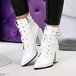 Элегантные нарядные белые женские ботинки на фигурном каблуке, фото 5