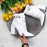 Элегантные нарядные белые женские ботинки на фигурном каблуке, фото 8