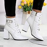 Элегантные нарядные белые женские ботинки на фигурном каблуке, фото 9