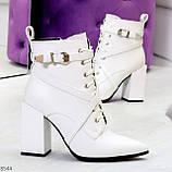 Элегантные нарядные белые женские ботинки на фигурном каблуке, фото 10