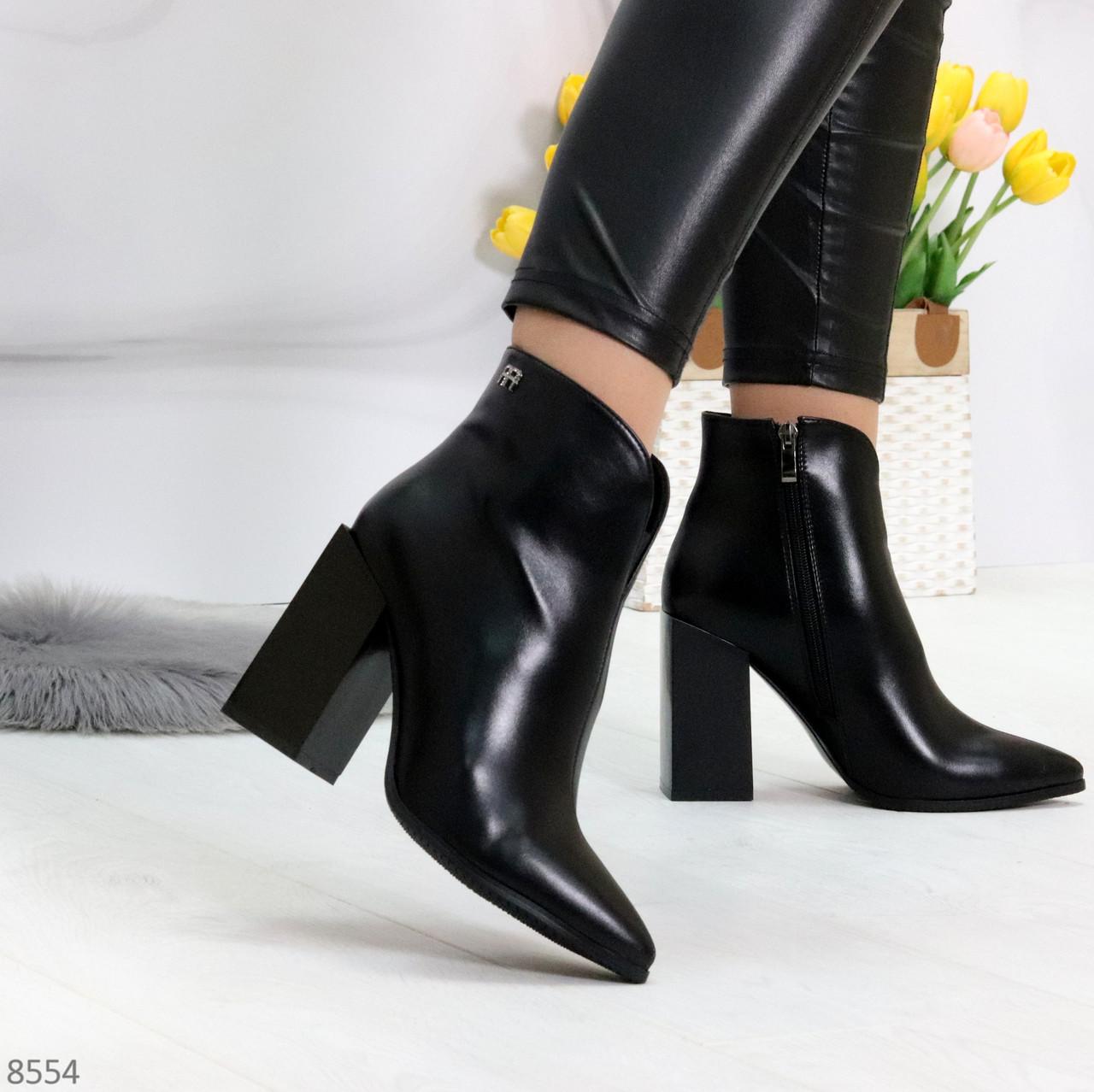 Модельные женственные черные ботинки ботильоны на фигурном каблуке