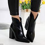 Модельные женственные черные ботинки ботильоны на фигурном каблуке, фото 2