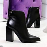 Модельные женственные черные ботинки ботильоны на фигурном каблуке, фото 4