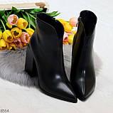 Модельные женственные черные ботинки ботильоны на фигурном каблуке, фото 6