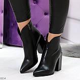 Модельные женственные черные ботинки ботильоны на фигурном каблуке, фото 7