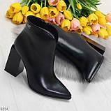 Модельные женственные черные ботинки ботильоны на фигурном каблуке, фото 8