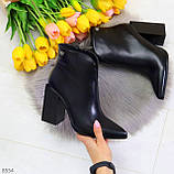 Модельные женственные черные ботинки ботильоны на фигурном каблуке, фото 9