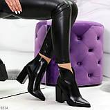 Модельные женственные черные ботинки ботильоны на фигурном каблуке, фото 10