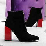 Дизайнерские женственные черные ботинки ботильоны на фигурном ярком каблуке, фото 6