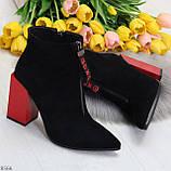 Дизайнерские женственные черные ботинки ботильоны на фигурном ярком каблуке, фото 7