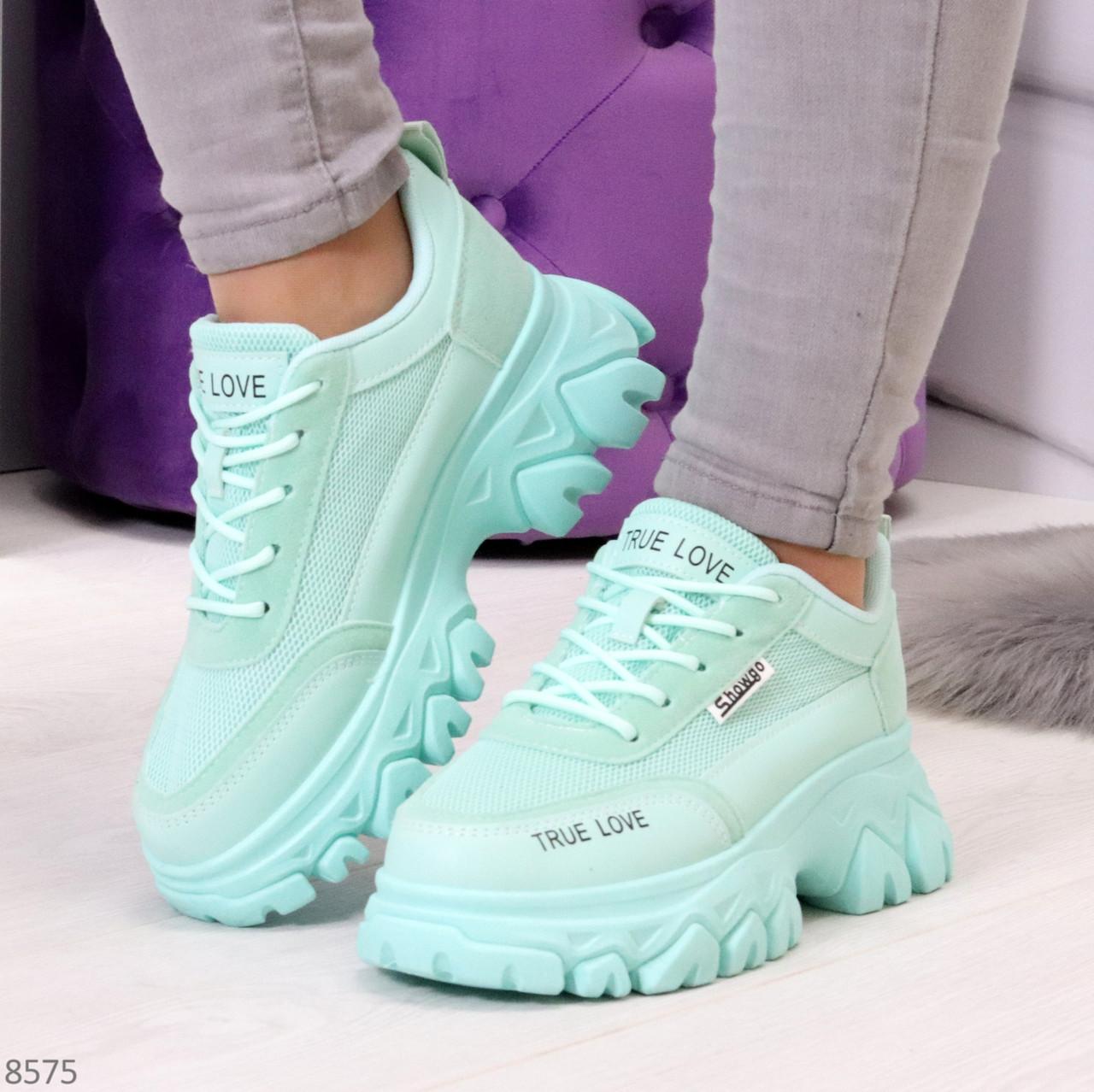Эффектные яркие небесно голубые люксовые текстильные женские кроссовки