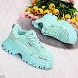Эффектные яркие небесно голубые люксовые текстильные женские кроссовки, фото 6