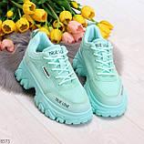 Эффектные яркие небесно голубые люксовые текстильные женские кроссовки, фото 7