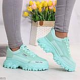 Эффектные яркие небесно голубые люксовые текстильные женские кроссовки, фото 8