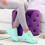 Эффектные яркие небесно голубые люксовые текстильные женские кроссовки, фото 9