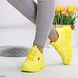 Яркие желтые лимонные неоновые молодежные женские кроссовки, фото 3