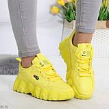 Яркие желтые лимонные неоновые молодежные женские кроссовки, фото 5
