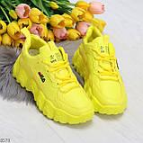 Яркие желтые лимонные неоновые молодежные женские кроссовки, фото 6
