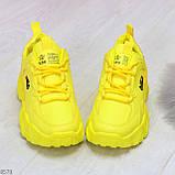 Яркие желтые лимонные неоновые молодежные женские кроссовки, фото 7