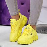 Яркие желтые лимонные неоновые молодежные женские кроссовки, фото 8