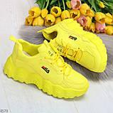Яркие желтые лимонные неоновые молодежные женские кроссовки, фото 9