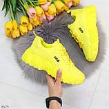 Яркие желтые лимонные неоновые молодежные женские кроссовки, фото 10
