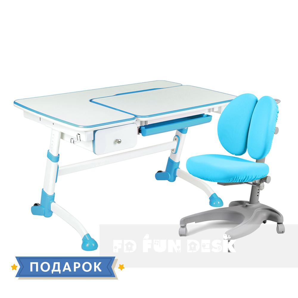 Комплект подростковый👫 парта Amare Blue с выдвижным ящиком + эргономичное кресло FunDesk Solerte Blue