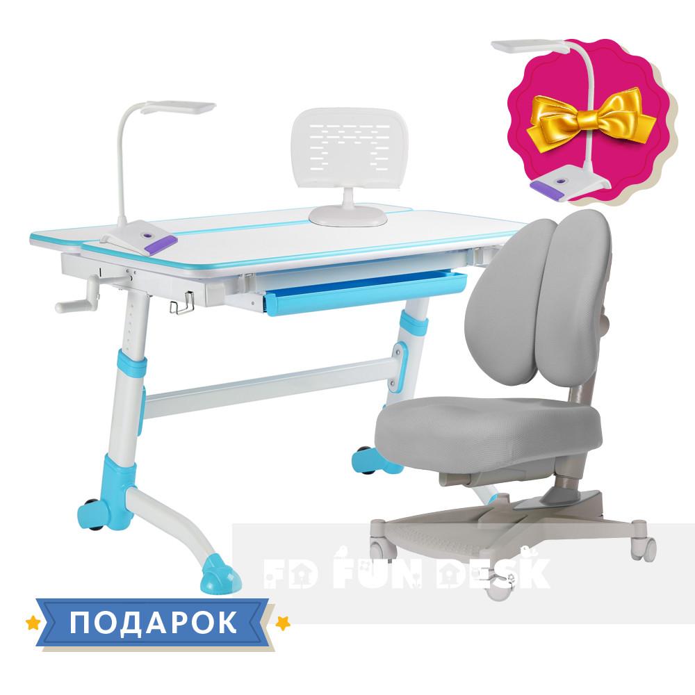 Комплект парта  FunDesk Volare Blue + ортопедическое кресло для подростков FunDesk Contento Grey