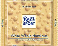 Белый шоколад Ritter Sport с цельными лесными орехами 100г.