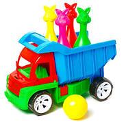 Алєкс грузовик с кеглями зайцы+1 шар .( Ч )