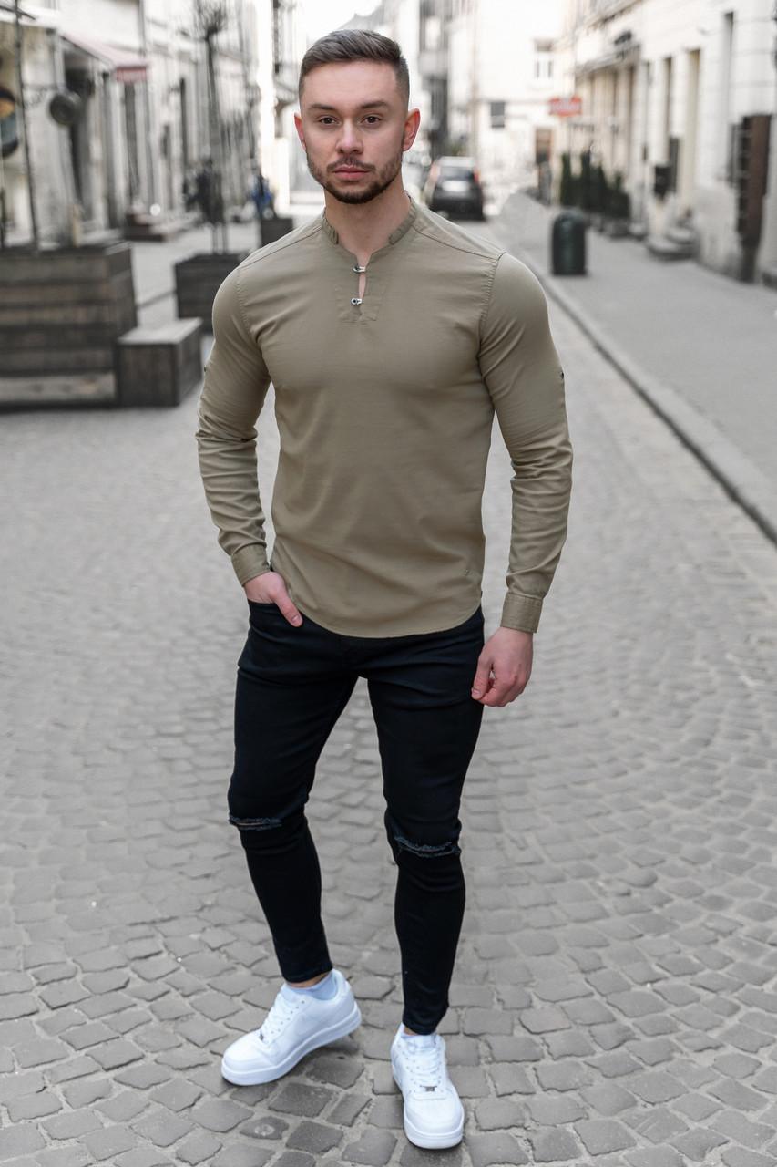 Мужская рубашка лонгслив синяя / 4 цвета Оливковый, S