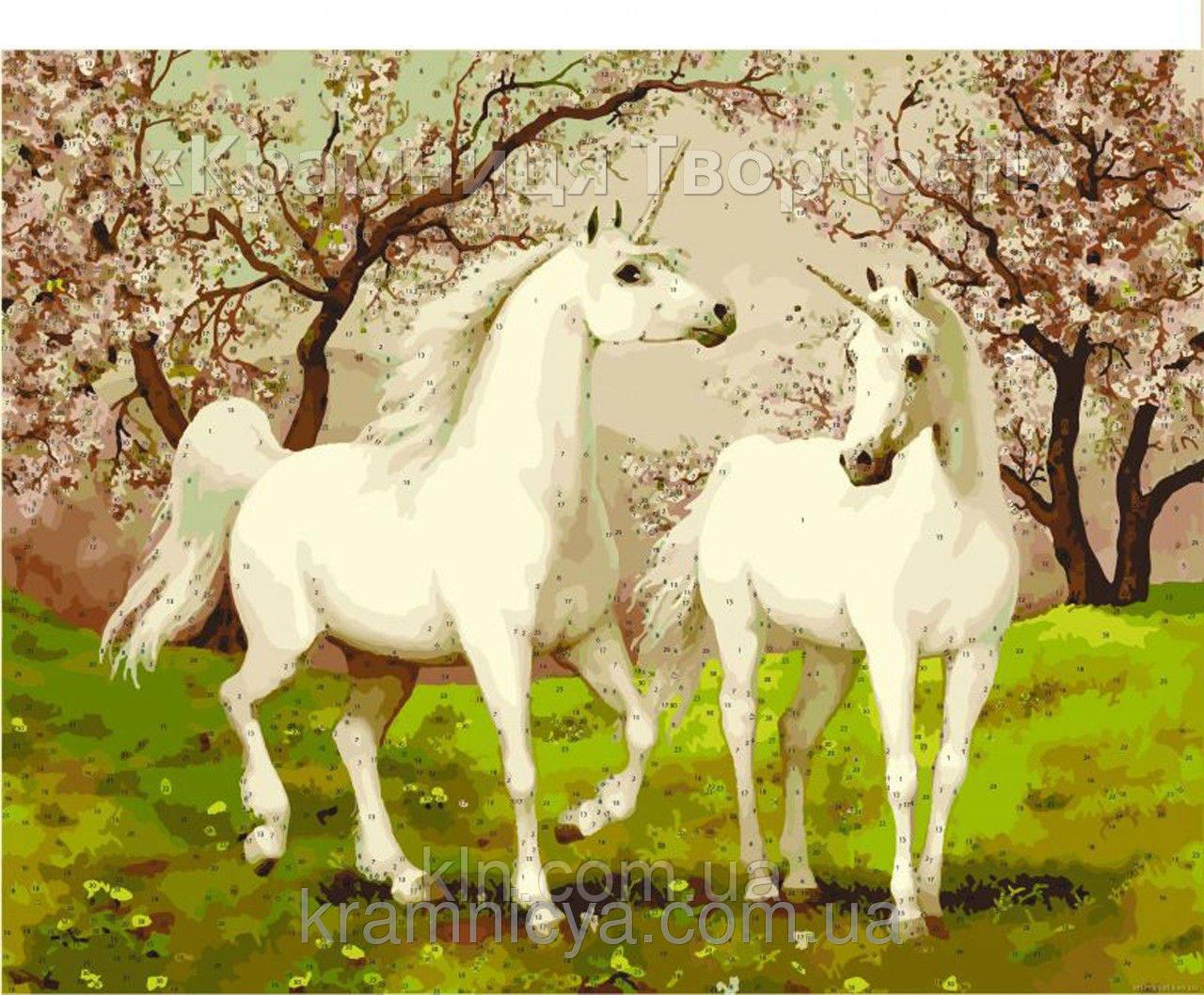Набор БЕЗ КРАСОК! Картина по номерам Menglei КН2431 Пара лошадей единорогов 40 х 50 см