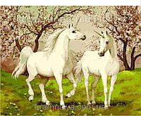 Набор БЕЗ КРАСОК! Картина по номерам Menglei КН2431 Пара лошадей единорогов 40 х 50 см, фото 1
