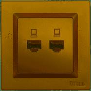 Компьютерная розетка двойная Luxel JAZZ (9628) бронзовая