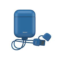 Чехол для наушников Apple AirPods Remax RC-A6 Dark с Lightning кабелем Blue RC-A6 D, КОД: 1823617