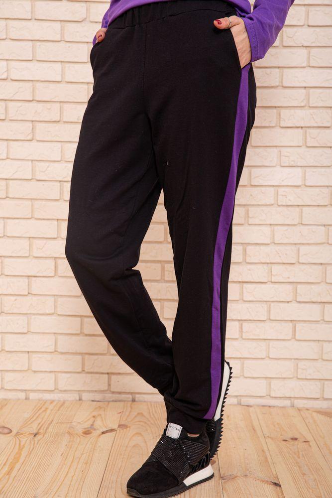 Спорт брюки женские 119R604-1 цвет Черно-фиолетовый