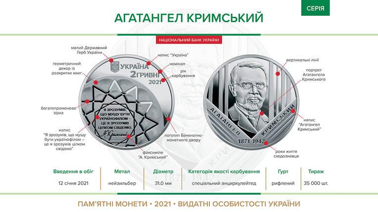 Агатангел Кримський монета 2 гривні, фото 2