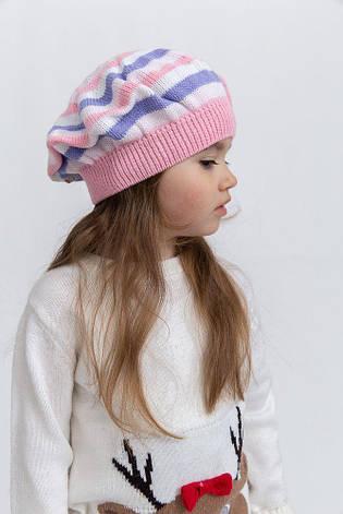 Шапка детская 126R005 цвет Бело-розовый, фото 2