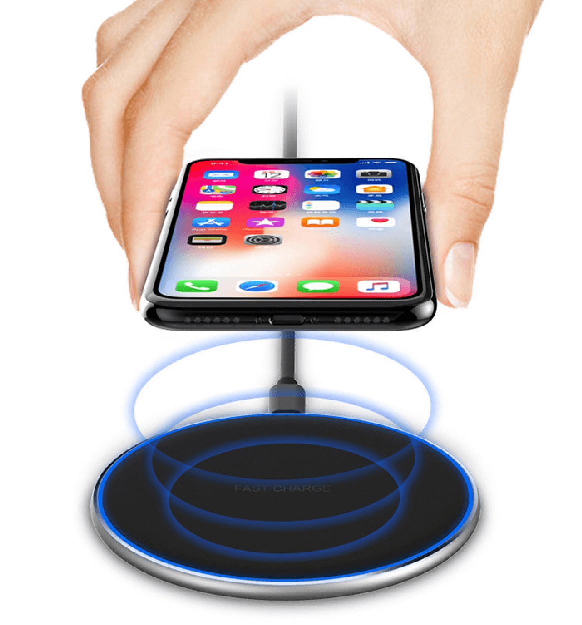 Беспроводное зарядное устройство Wi-smart Fast 2 Qi для телефона, наушников Iphone, Android с LED подсветкой