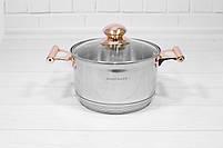 Набор кастрюль со сковородой с крышками и фритюром Goldteller GT-1330 на 13 предметов, 9-ти ступенчатое дно, фото 5