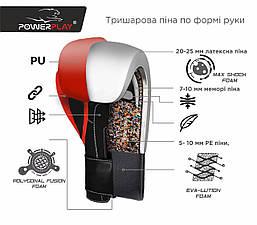 Боксерські рукавиці PowerPlay 3017 Чорні карбон 16 унцій, фото 3