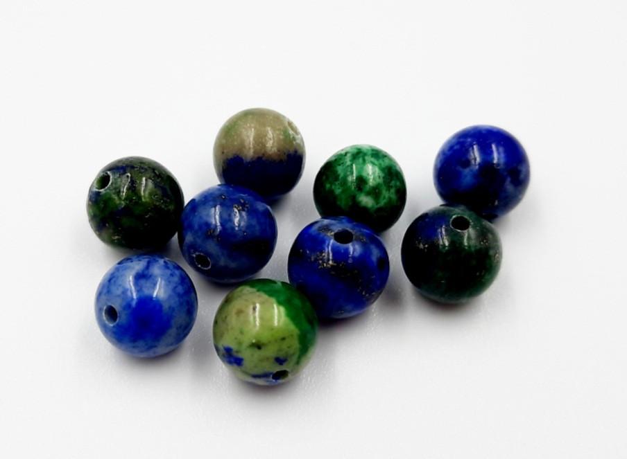 Бусины(d8). Азурмалахит(Азур-малахит) - камень творческих идей, энергия, исцеление, от вирусов, унисекс