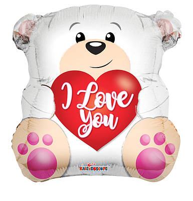 """К 18"""" Love Polar Bear Shape Foil Balloon. Фольгированный шар Полярный мишка Я люблю тебя"""