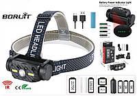Налобный фонарь Boruit B34 с датчиком движения+Аккумулятор 21700 (XM-L2+COB led, 4000лм, USB, IPX4, 3 спектра)